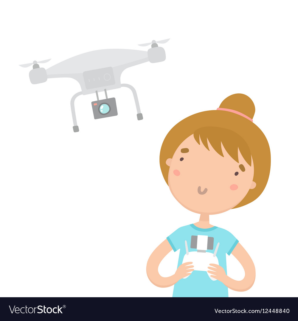 Girl with remote controlling aerial drone vector image
