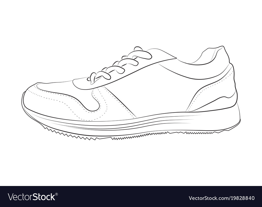 Line Art Shoes : Hand drawn sketch of sport shoes royalty free vector image