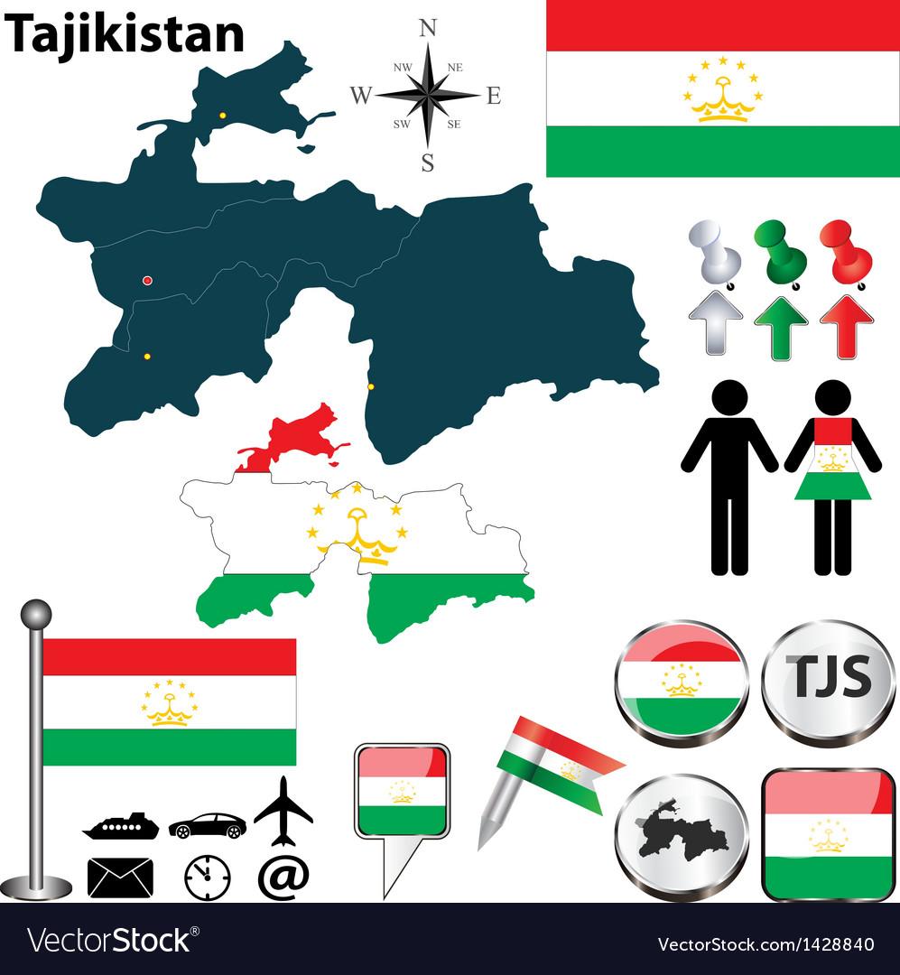 Map Of Tajikistan Royalty Free Vector Image VectorStock - Tajikistan map vector