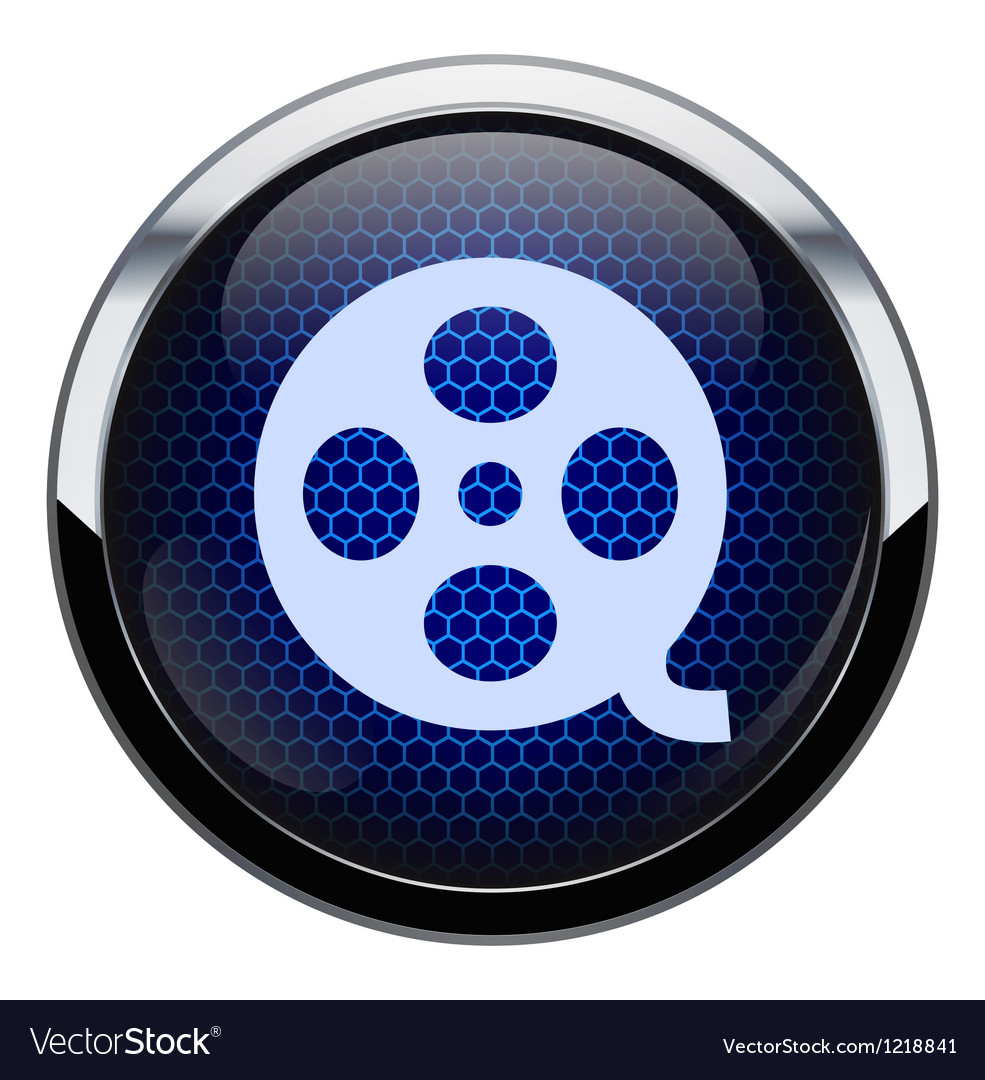 Blue honeycomb movie icon vector image