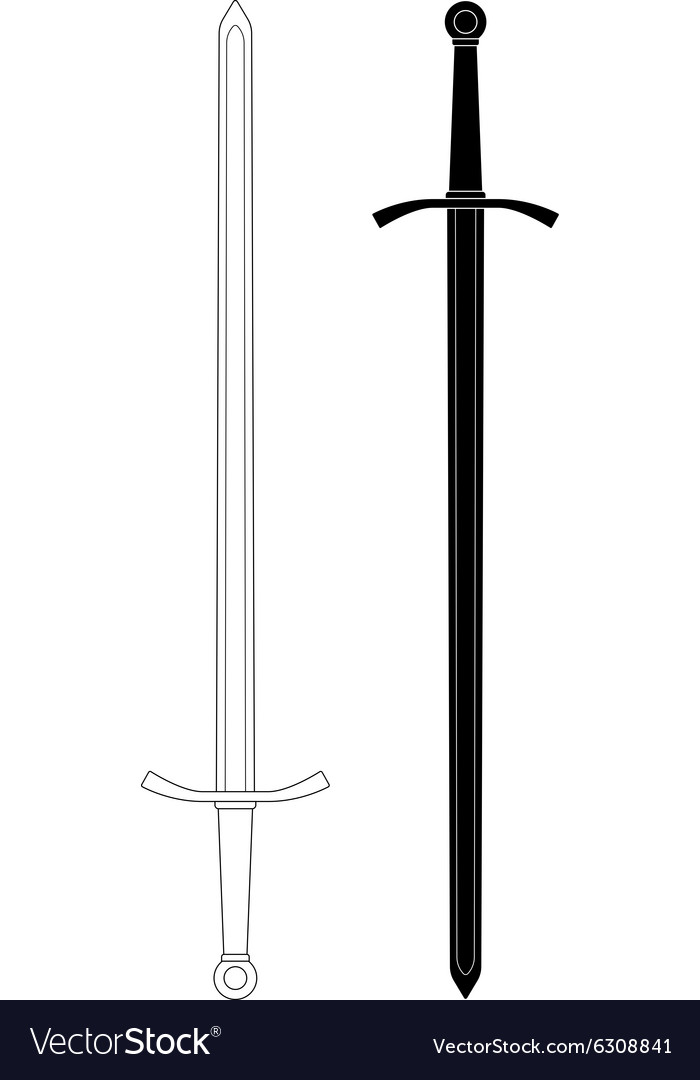 Two-handed sword Contour lines and silhouette vector image