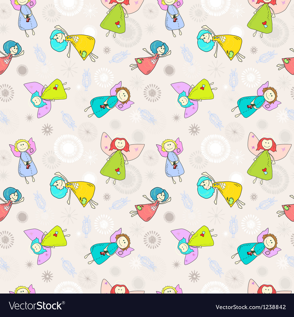 Cartoon romantic seamless pattern with angels vector image