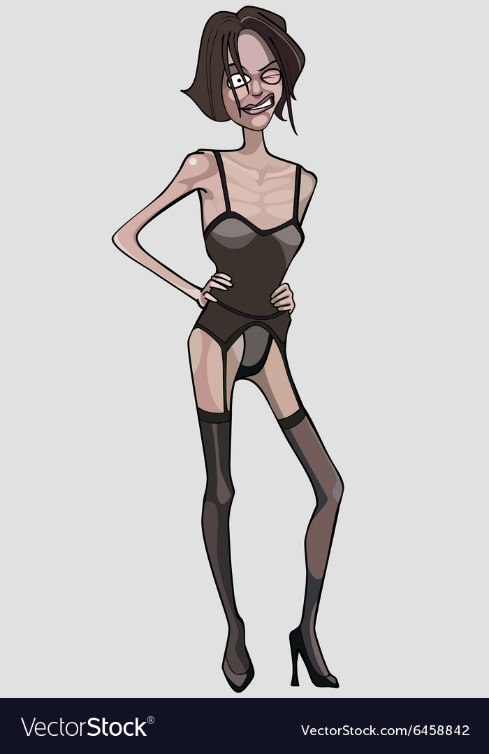 Cartoon very thin woman in lingerie vector image