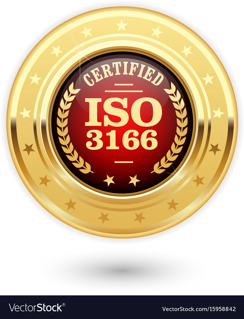 Iso 3166 certified medal - country codes vector image