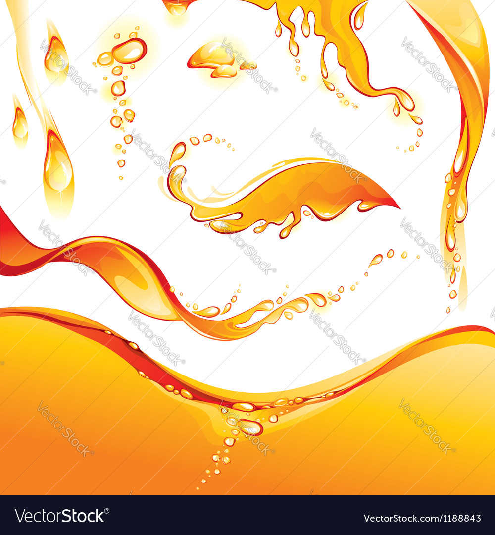 Set of orange water splashes and drops Vector Image