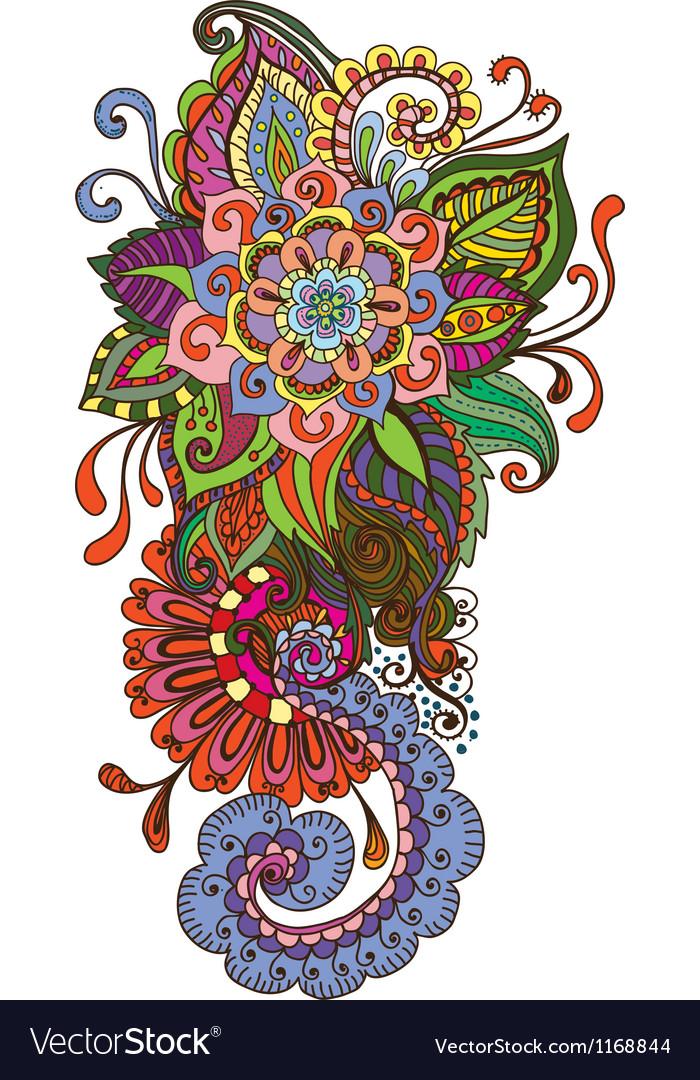 Floral color ornament vector image