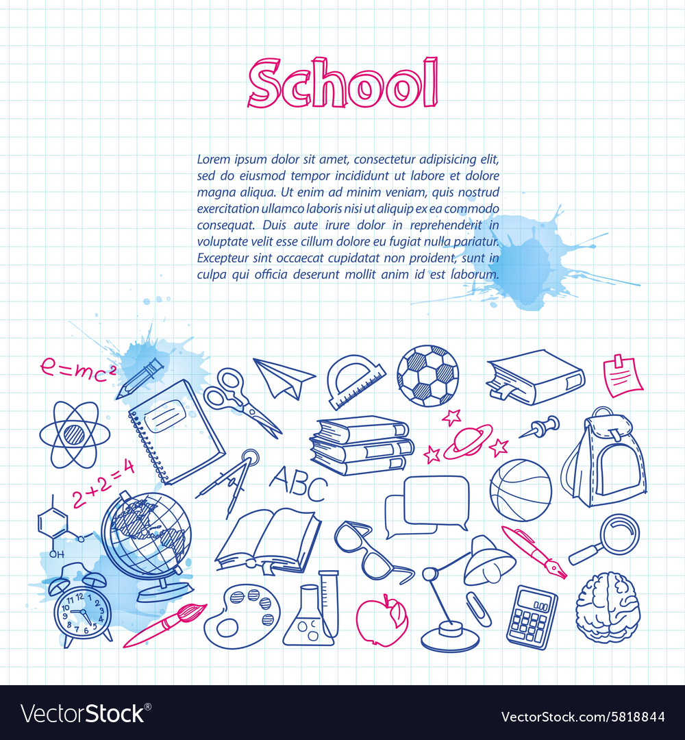 School doodle on the checkered page with vector image