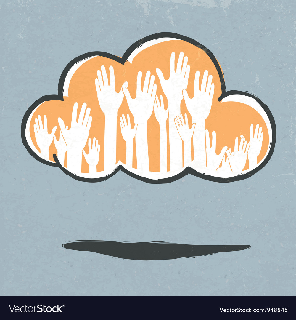 Cloud hands vector image