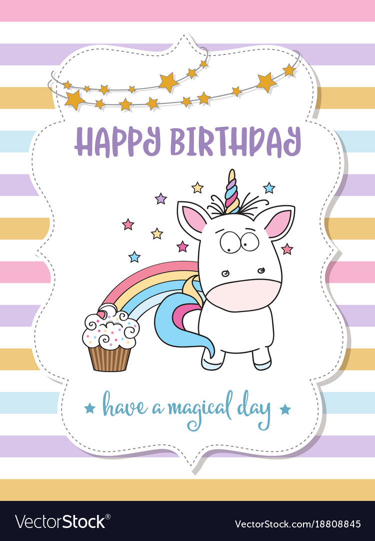 Happy birthday card with lovely baby unicorn vector image bookmarktalkfo Choice Image