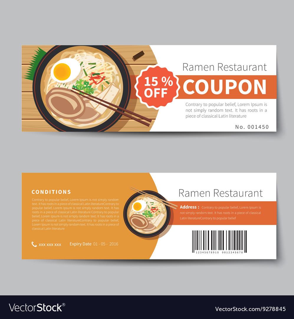 Japanese food coupon discount template flat design