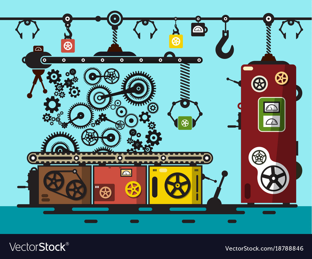 Factory flat design interior with cogs gears line vector image