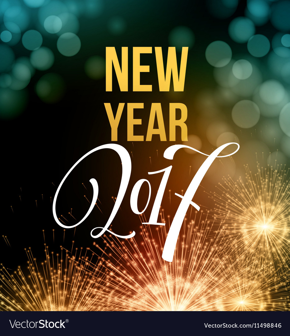 New Year fireworks and confetti 2017 vector image