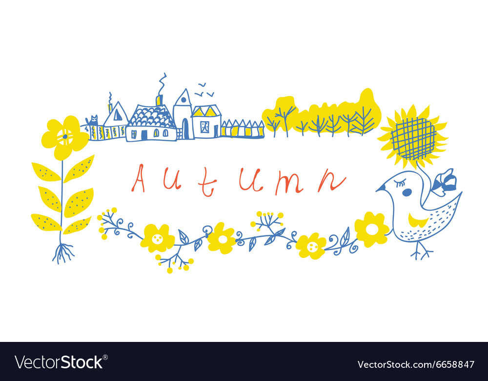 Autumn frame design with farm and flowers vector image