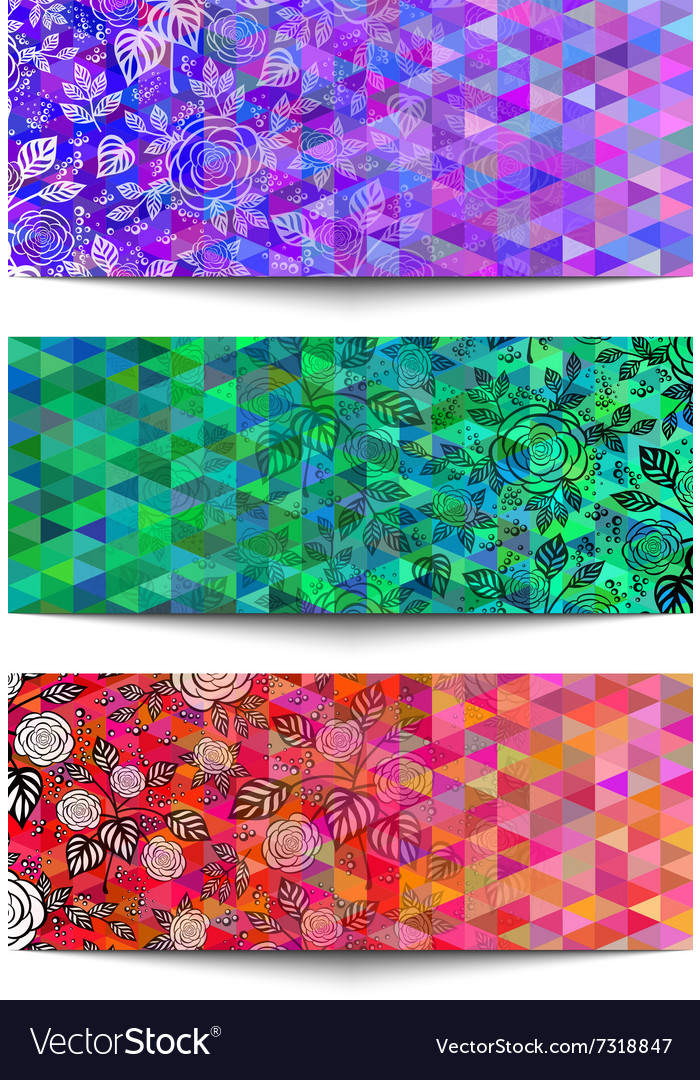 Banners with floral ornament on triangle backdrop vector image