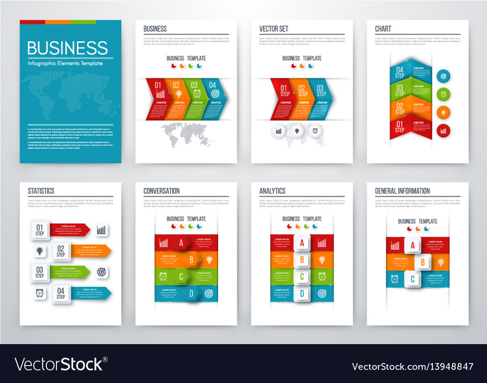 Set with infographics vector image