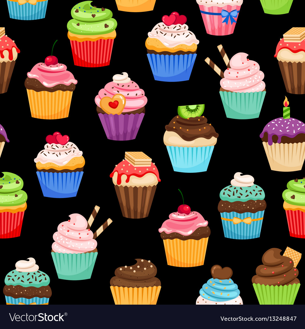 Sweet cupcakes pattern on black background vector image