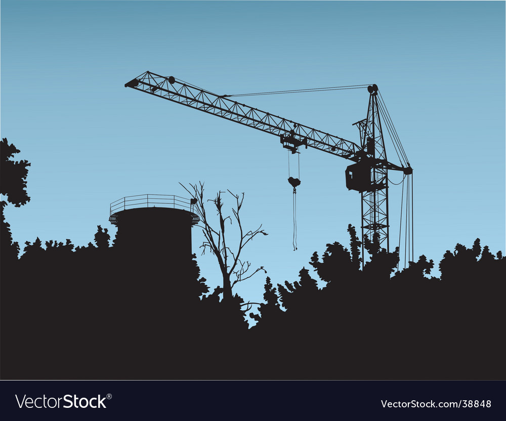 Crane construction site vector image