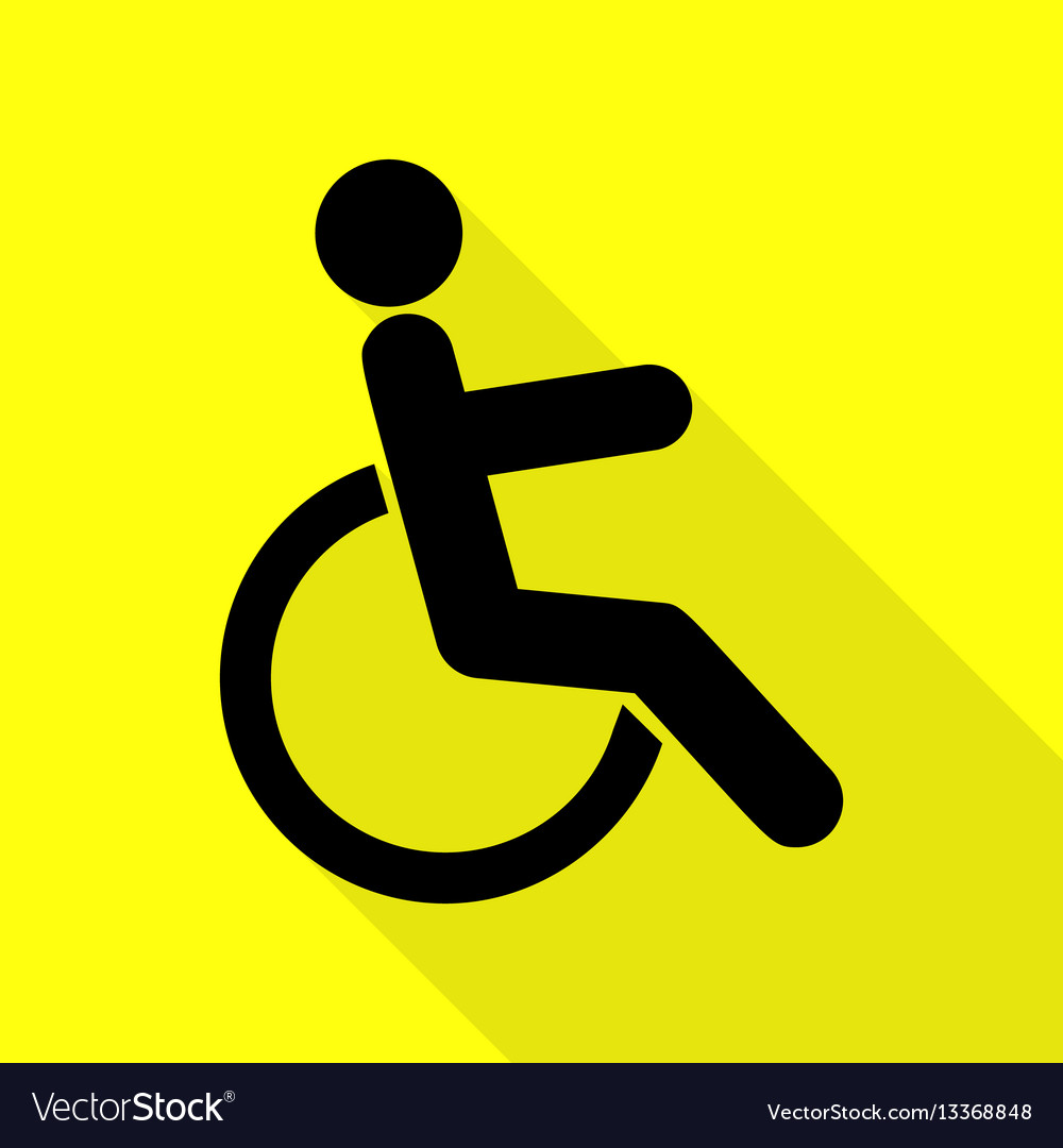 Disabled sign black icon with flat vector image