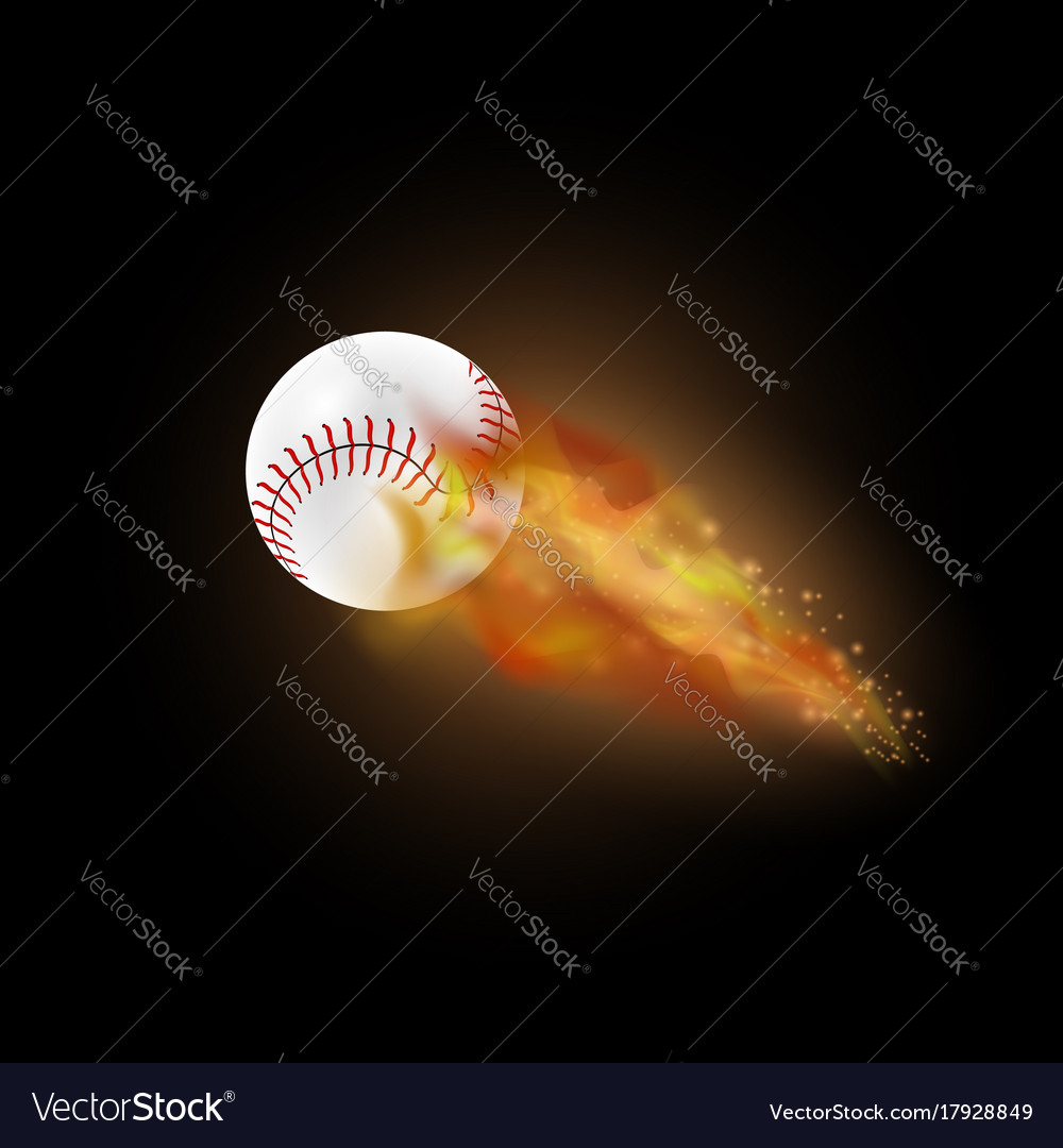 Burning baseball ball with fire flame vector image