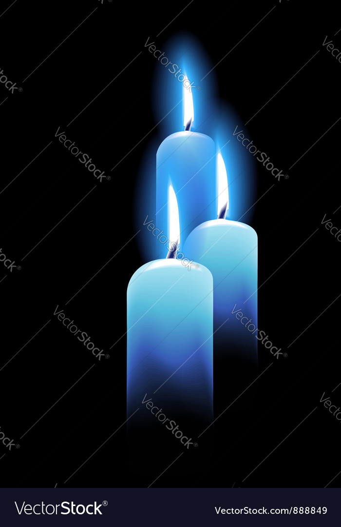 Burning candles on black vector image