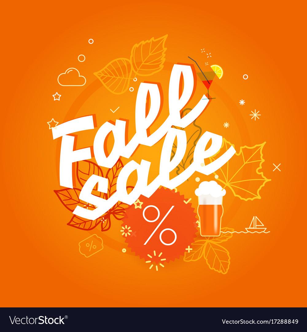 Fall sale season sale concept vector image