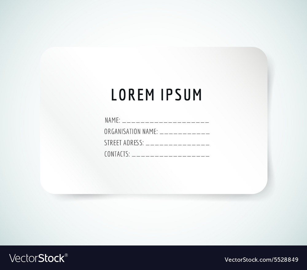 Form blank template Business card paper and Vector Image