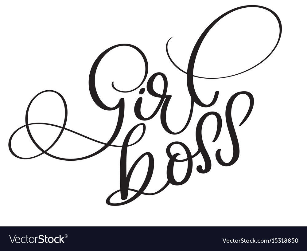 Girl boss vintage text calligraphy vector image