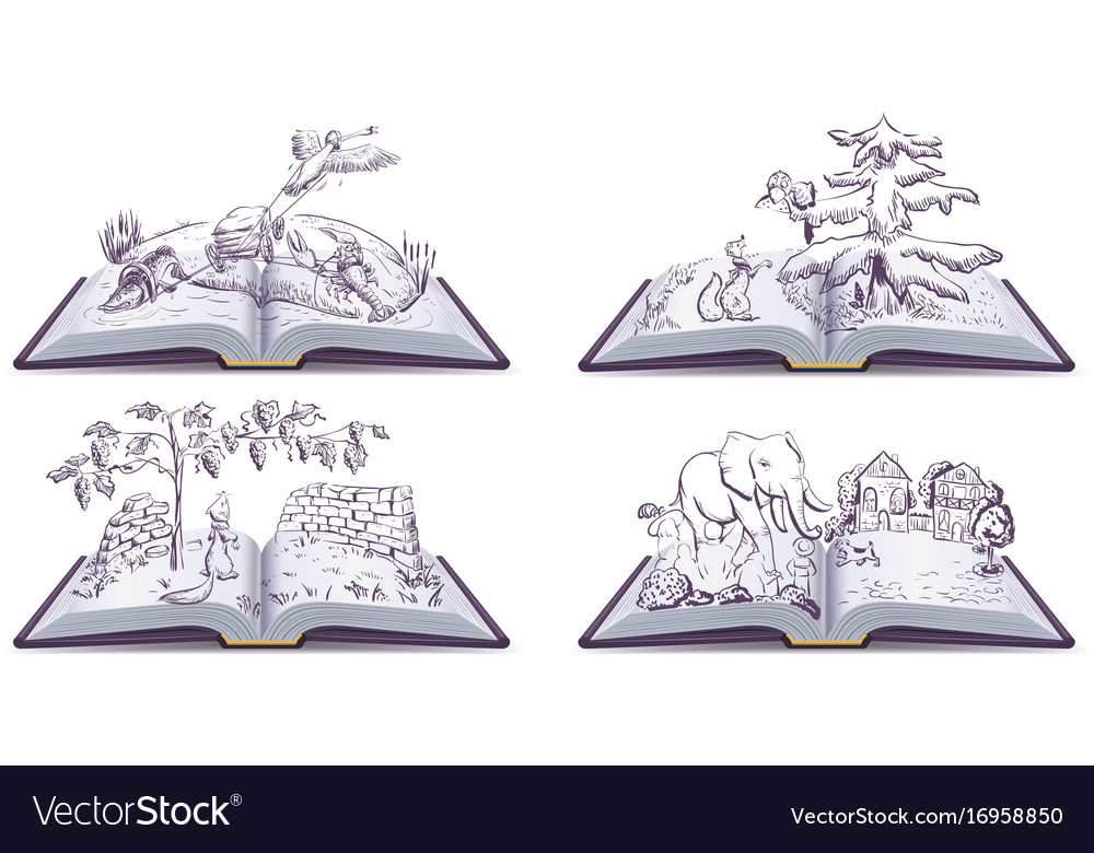Set open book fable vector image