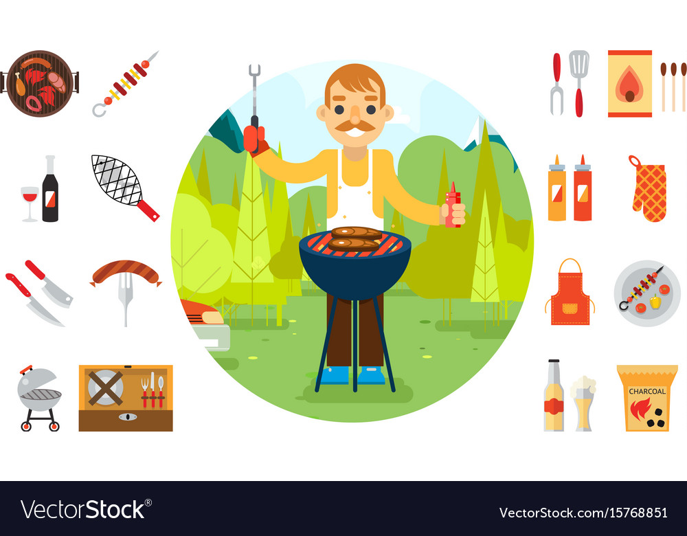 Barbecue man cook vacation food icons car vector image