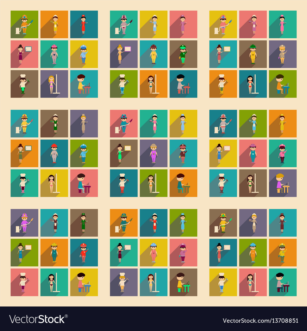 100 profession icons set in cartoon style