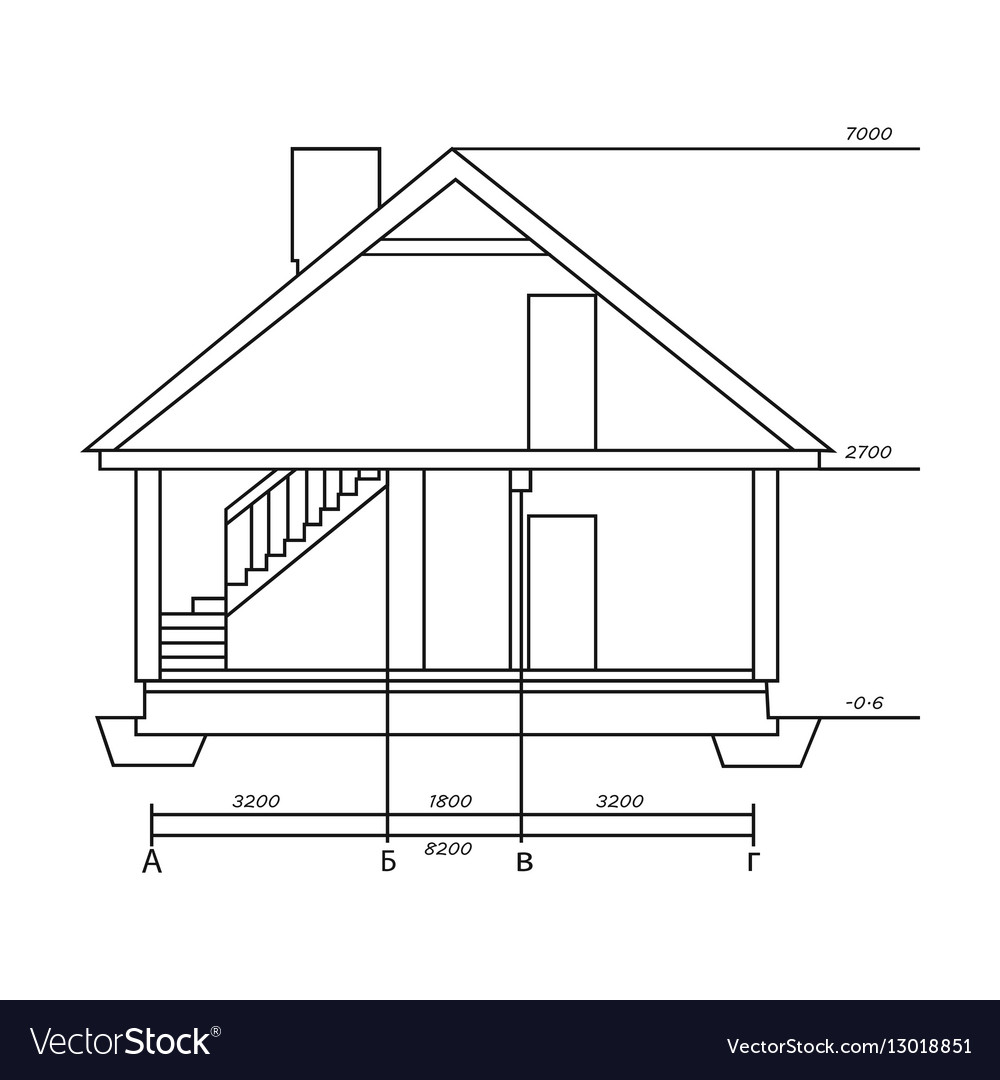 House outline picture - Technical Drawing Of House Icon In Outline Style Vector Image