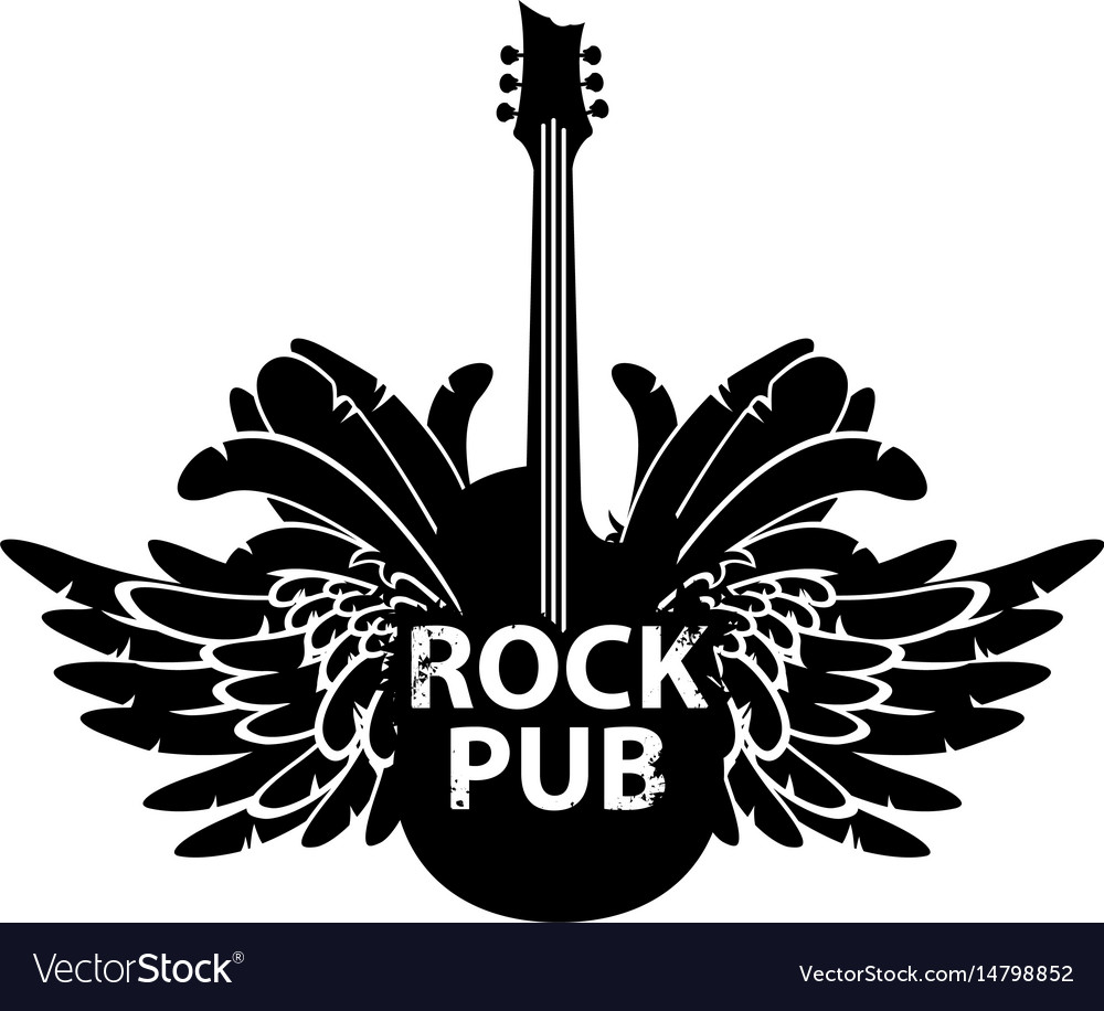 Banner for rock pub with guitar and wings vector image