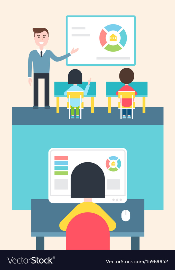 Blended learning and flipped classroom model vector image
