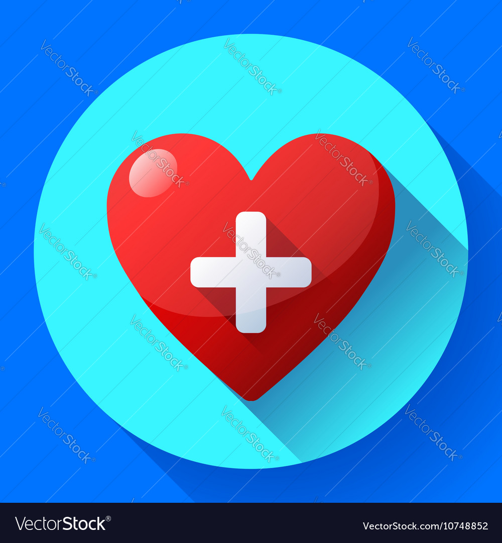Health care icon white cross in red heart vector image
