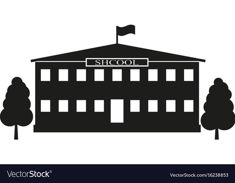 Facade building school sign vector image