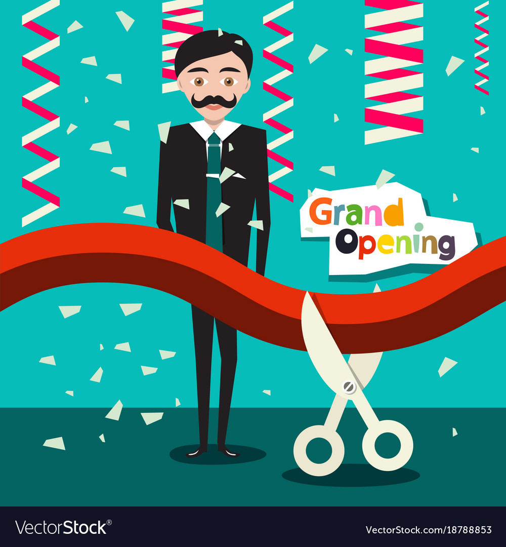 Grand opening flat design cartoon with man in vector image