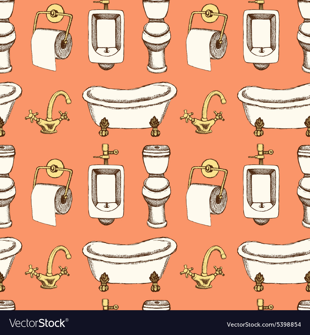 Sketch bathroom and toilet equipment in vintage Vector Image. Sketch bathroom and toilet equipment in vintage Vector Image by