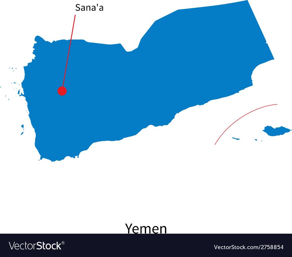 Detailed Map Of Yemen And Capital City Sanaa Vector Image - Sanaa map