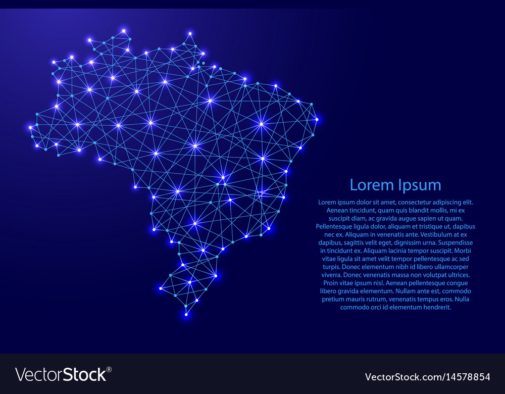 Map of brazil from polygonal blue lines vector image