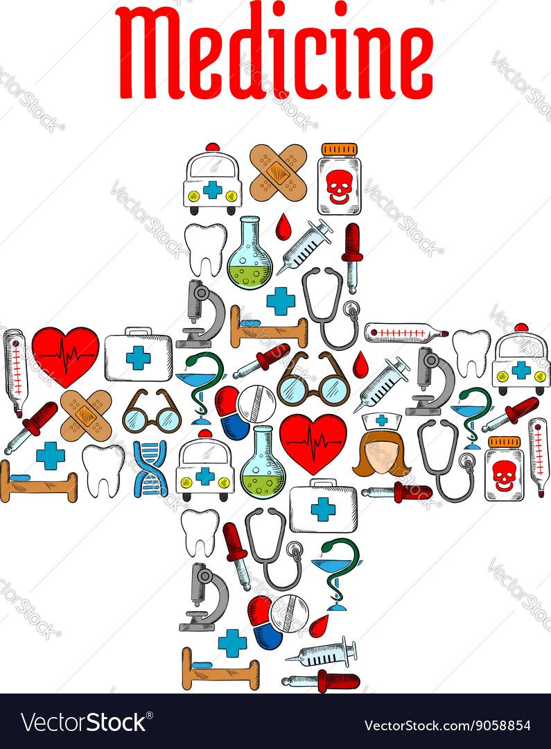 Medicine symbols in a shape of medical cross vector image