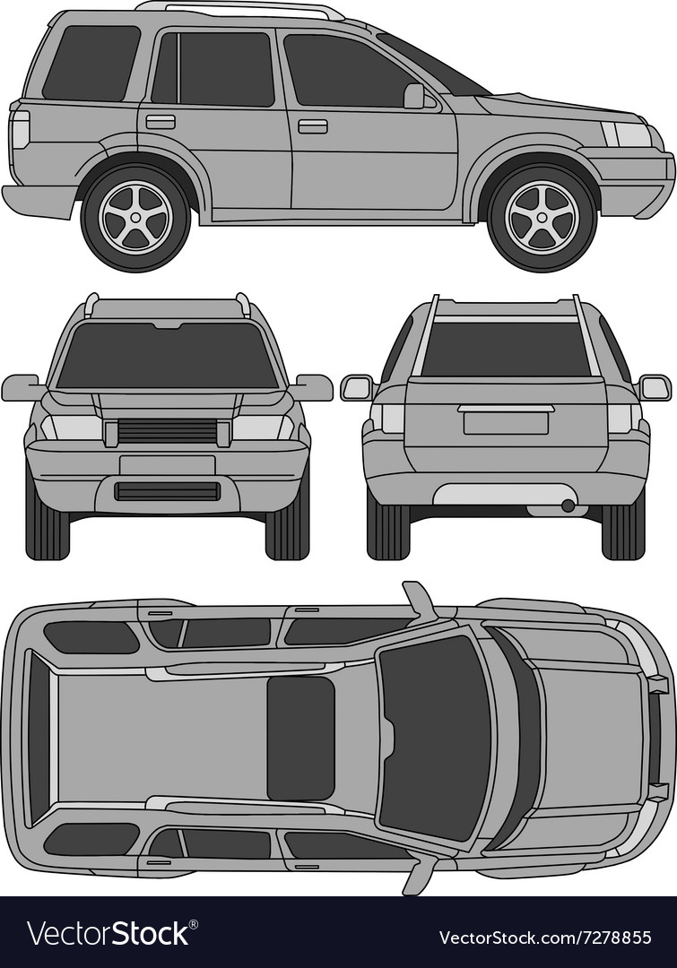 Car Truck Suv Line Draw Rent Damage Royalty Free Vector