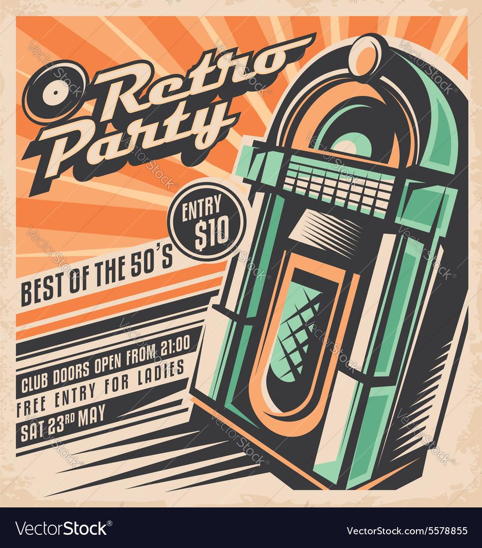Retro party invitation design template vector image
