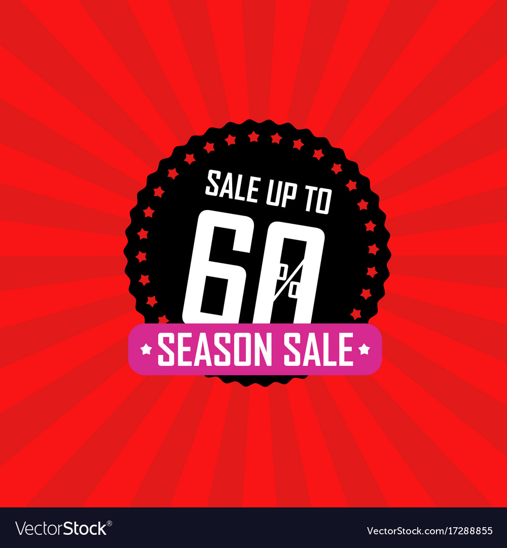 Season sale banner sale up to 60 percent off vector image