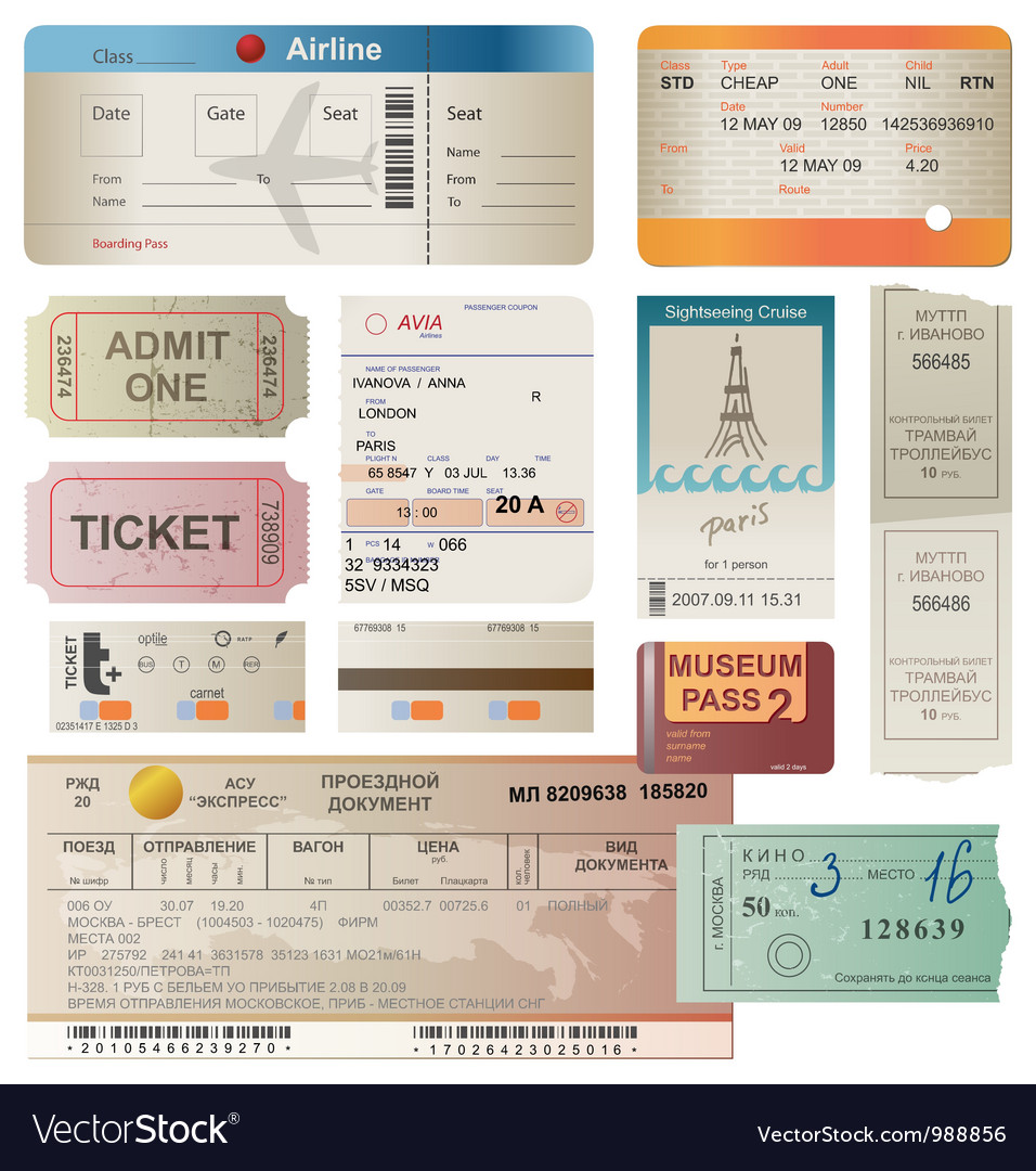 Tickets set vector image