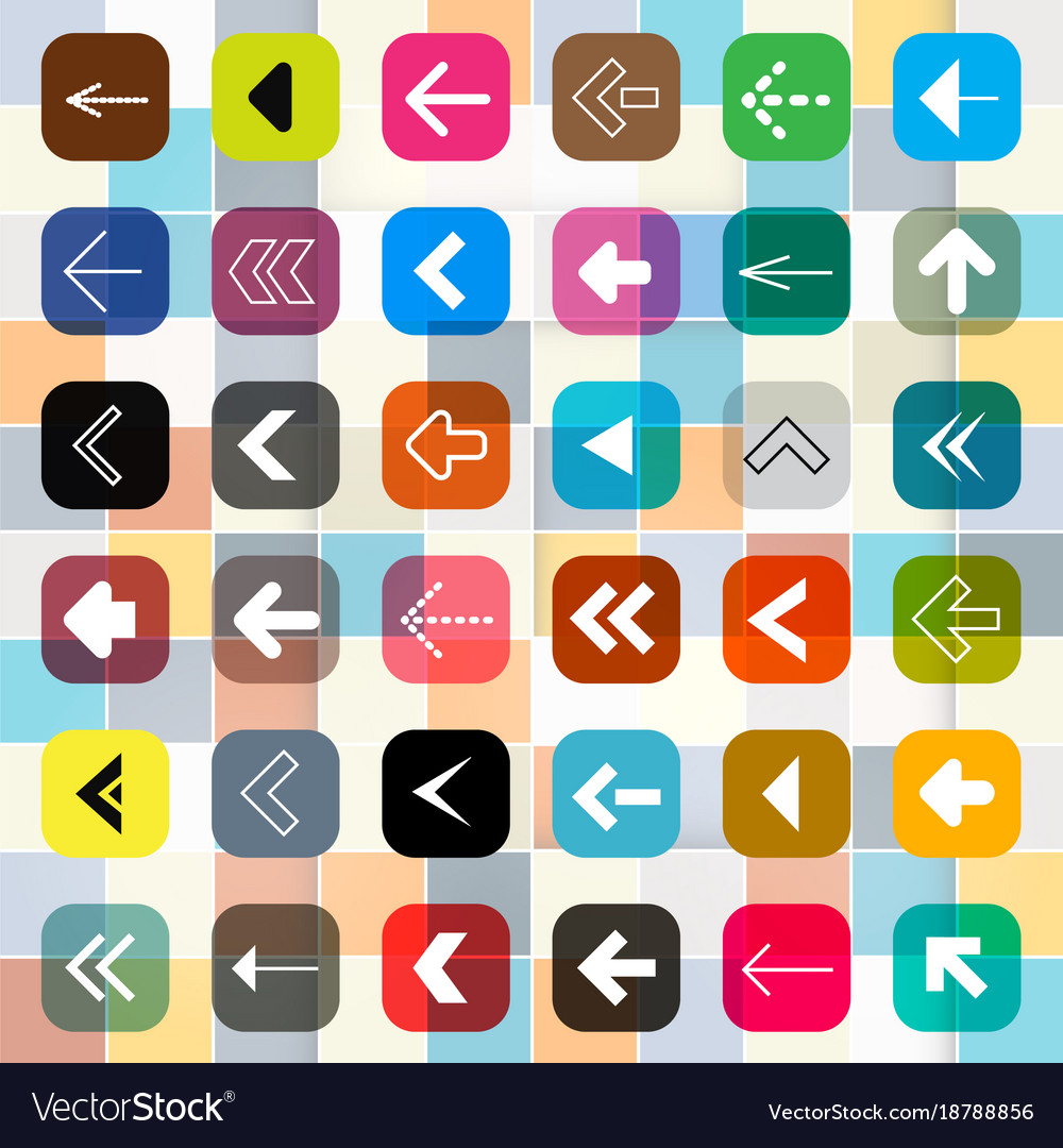 Colorful arrow buttons on square background arrow vector image