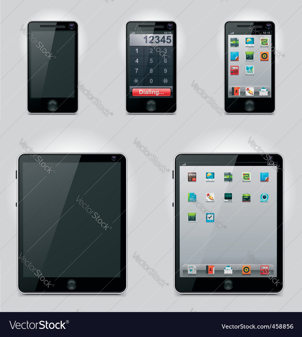 Tablet computer and phone vector image