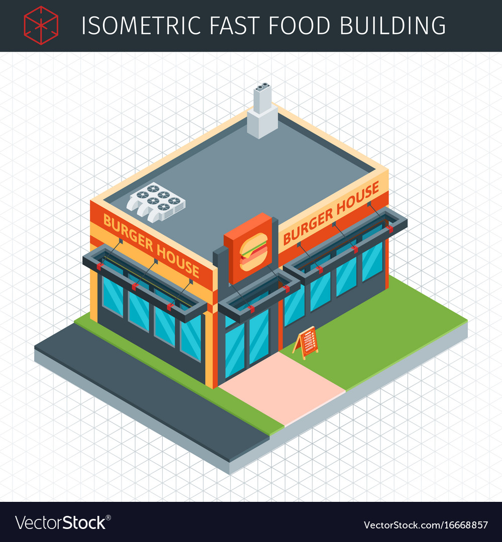 Isometric fast food building vector image