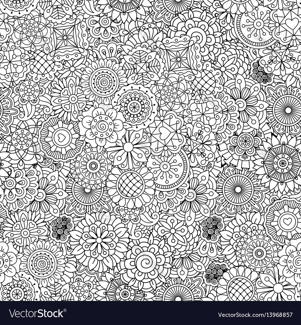 Outline ormanental flowers pattern vector image
