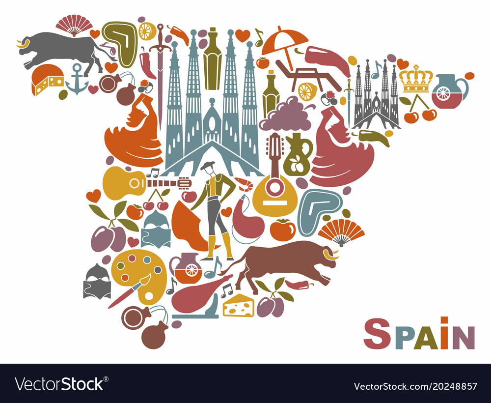 Traditional symbols of spain in the form of a map vector image traditional symbols of spain in the form of a map vector image buycottarizona Images