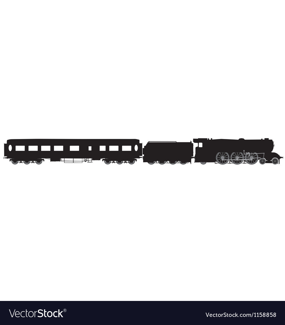 Steam train and carriage silhouette Vector Image